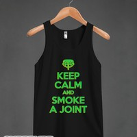 Keep Calm and Smoke a Joint (Dark) (Tank)-Unisex Black Tank