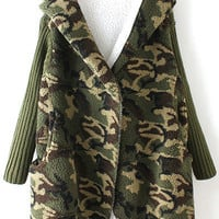 Army Green Hooded Camouflage Print Parka Coat