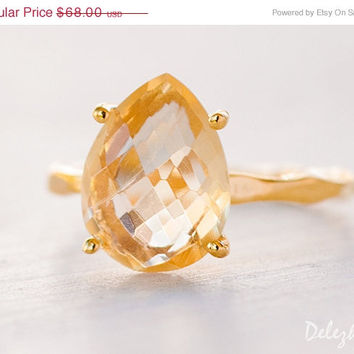 Valentines Day Sale - Yellow Citrine Ring - November Birthstone Ring - Gemstone Ring - Stacking Ring - Gold Ring - Tear Drop Ring - Prong Se