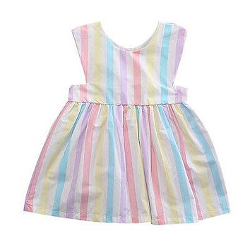 Baby Girls Dress Brand Summer Beach Style Floral Print Party Striped Dresses For Girls Vintage Toddler Girl Clothing