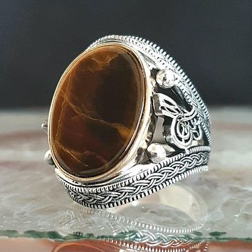 Tigers eye gemstone with calligraphy 925k sterling silver mens ring