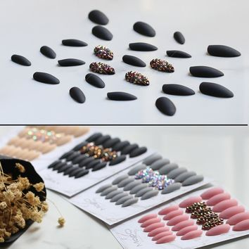 Cool Matte Black Press On Nails Bling crystal Nail Art fake nails natural False nails stiletto with Stickers 24pcs Pure color
