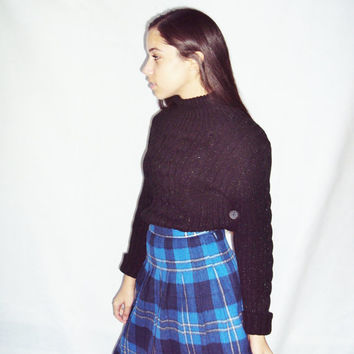 70's PLAID Wool Pleated Mini Skirt S / Preppy Skirt / Schoolgirl / Grunge Revival / Blue Black