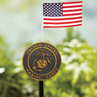 Marine Corps Military Marker Stake With Flag Gravesite, Welcome Home Yard Garden