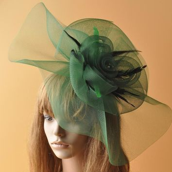 High Quality Paris Green Net Flower Hair Clip Wedding Fascinators Hat For Women Elegant Royal Race Party Cocktail Show Headdress