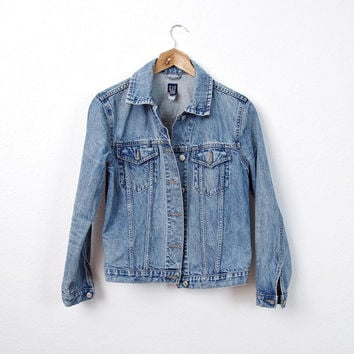 SUMMER SALE 30% OFF - 90s Gap Women Denim Jacket. Minimalism. Hip Hop Punk Rock Grunge. American Workwear. Slim Sleeves. Size S