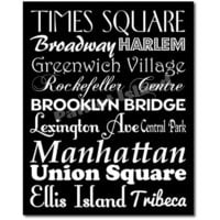 New York City Subway Sign Art  Destination Typography Print 8x10 Black and White