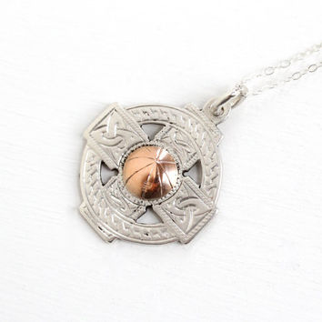 Vintage Sterling Silver Rose Gold Tone Accent Basketball Pendant - Dated 1945 Athletic Roscommon English Charm Fob Sports Necklace