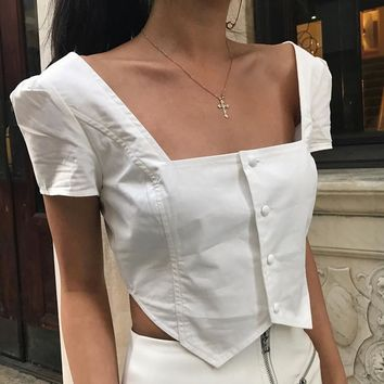 Women Simple Fashion Square Collar Short Sleeve Single Row Buttons T-shirt Solid Color Crop Tops