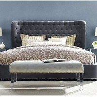 TOV Furniture The Finley Collection Contemporary Style Velvet Upholstered Button Tufted Wingback Bed with Nailhead Trim, King Size, Grey