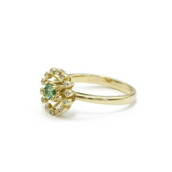Round Cut 0.17ct Natural Emerald Gemstone 18k Rose Gold Floral Diamond Side Stones Wedding Engagement Ring