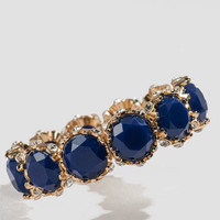 Eleanor Jeweled Stretch Bracelet In Navy