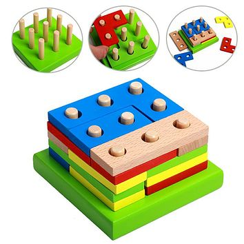 Colorful Wooden Sorting Board Geometric Shapes Montessori Kids Brain Teaser Intellectual Toy Assembled Building Puzzle Gift
