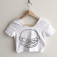 Burger Vintage Illustration Women's Crop Top
