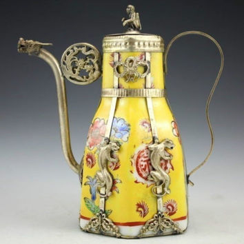 Free Shipping - Exquisite Chinese Antique Porcelain Teapot  Inlaid with Tibetan Silver Animal Stautes