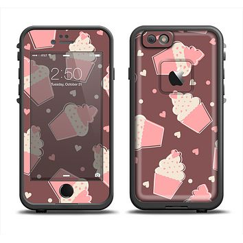 The Pink Outlined Cupcake Pattern Apple iPhone 6/6s LifeProof Fre Case Skin Set