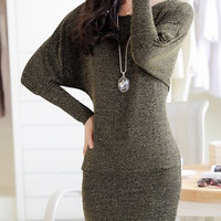 Batwing Sleeve Lurex Mini Dress