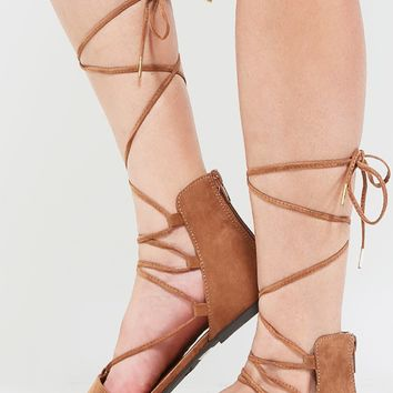 Qupid Swirl-38 Lace Up Pointy Toe Flats