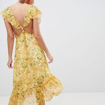 PrettyLittleThing Floral Tie Back Midi Dress at asos.com