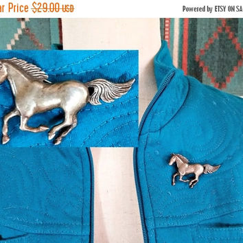 Vintage Sterling Horse Pin Brooch Western Wear Americana Southwest Rodeo Cowgirl Cowboy Wild Horses Running With The Wind Horse Jewelry