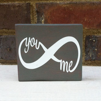 You and Me  Mini Distressed Wood Block signage Home Decor Dorm wedding