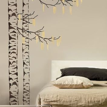 Large Tree Stencil Beautiful Birches - Reusable Stencils for easy DIY decor