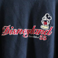 Micky Mouse Sweatshirt Navy Blue Disney Pullover Crewneck Fleece Lining Sweatshirt Hipster 90s Vintage Size M - L