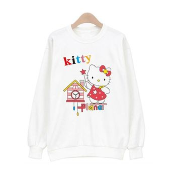 Women T Shirt Winter  Long Sleeve Hello Kitty Tops Female Outerwear Tees Crop Casual Top Plus Size Shirt Spring Women's Clothing
