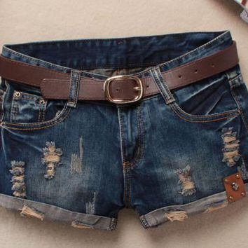 Hot 2015 Summer Beach Shorts Women Vintage Club Denim Shorts Sexy Hip Hop Skull Patch Plus Size Ripped Shorts Without Belt AS044