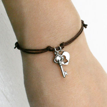 Open My Heart - Key and Lock Bracelet / Key an Lock Anklet (many colors to choose)