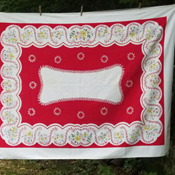 Vintage Simtex Tablecloth Red and White Garland Dahlia Retro Design