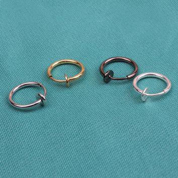 1Pcs 13mm Fashion Punk Clip On Fake Piercing Nose Lip Hoop Rings Earrings 4 Colors