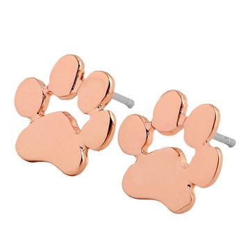 SUSENSTONE  Animal feet foot studs 1pair Women Cute Animal Feet Bear's Paw Shape Alloy Ear Stud Earrings Jewelry