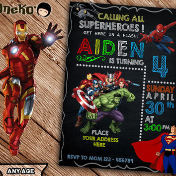 SALE 50% OFF Superheroes Birthday Invitation Printable - Personalized - Avenger Theme - Invitations for boys - Super Heroes - Ironman