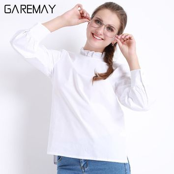 White Blouse Women Cotton Shirt Female 2017 Chemise Femme Work Wear Long Sleeve Women Clothing Fashion Autumn Tops Woman GAREMAY