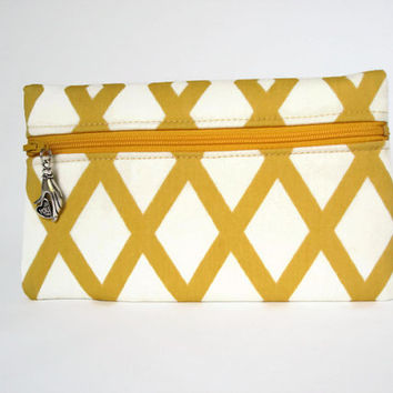 Yellow White Zipper Clutch Wallet Yellow Diamond Print Clutch Yellow IPhone Wallet Yellow Print Makeup Clutch