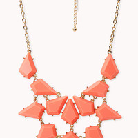 FOREVER 21 On The Edge Spiked Bib Necklace Coral/Gold One