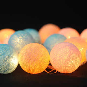 20 x pastel mix baby blue light pink cotton ball string light home decoration party wedding bedroom decor living room light display