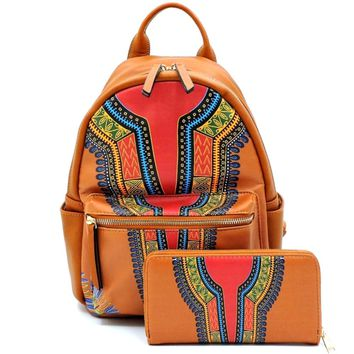 Brown Dashiki Print Vegan Leather Backpack and Wallet Set