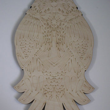 Large Owl Wood Cutout, Laser Cutouts, Unfinished Wood, Home Decor, Wall Art, Wood Shapes, Woodcraft, Wreath Accent, Owl Door Hanger