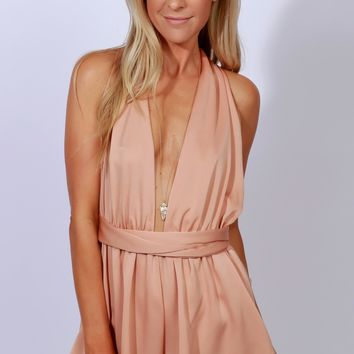 So Sleek Wrap Romper Coral