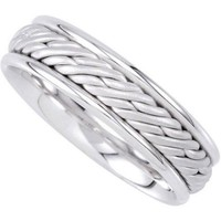 14K White Gold 6.5mm Hand Woven Comfort Fit  Mens Wedding Band ( Available Ring Sizes 7-12 1/2)