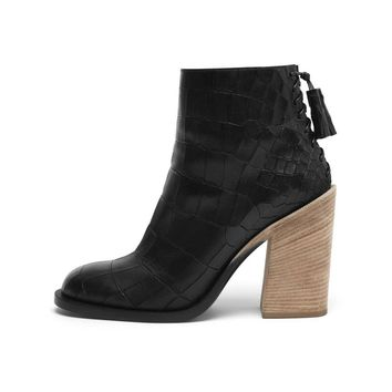 Laced Back Bootie in Black Deep Embossed Croc Print   Family   Mulberry