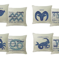 RoomCraft 2pc Zodiac Throw Pillow Covers/Cushion Set: Aquarius Square Covers Only 14x14 inches - White Indoor/Outdoor