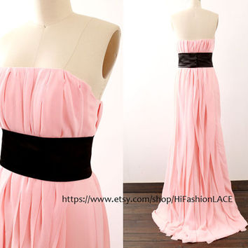 Long Chiffon Evening Dress, Pink Chiffon Long Prom Gown with Belt,  Strapless Long Chiffon Formal Dresses, Wedding Bridesmaid Dress