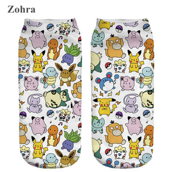 Zohra 2016 All Kinds Pokemon Comic Printed  Meias Low Cut Ankle Sock Calcetines Women's Ladies Hosiery High Elasticity Socks