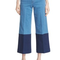 Stella McCartney High Rise Patchwork Denim Culottes (Multicolor) | Nordstrom