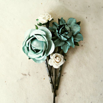 Blue Flower Bobby Pins Set of 4. Muted Ice Blue Floral Rose Hair Pins for Brides, Bridesmaids, Flower Girls. Paper Flower Hair Accesories.
