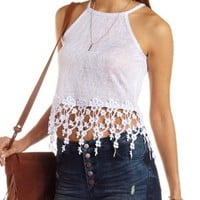 Flower Fringe Slub Knit Crop Top by Charlotte Russe
