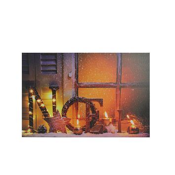 "LED Lighted Noel and Flickering Candles Christmas Canvas Wall Art 12"" x 15.75"""